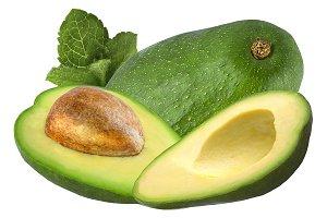 avocado whit mint isolated on white