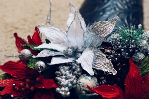 Holiday Floral Decor With Glitter