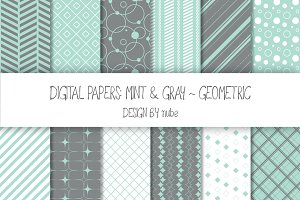 Geometric Seamless Patterns - Mint