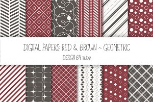 Geometric Seamless Patterns - Red