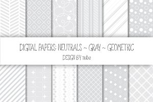Geometric Seamless Patterns - Gray