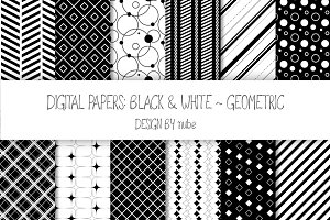 Geometric Seamless Patterns - Black