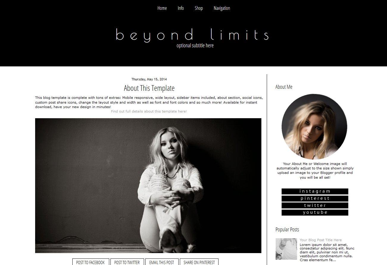 Blogger Template Black And White Templates Creative Market
