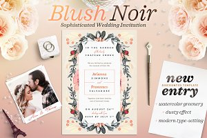 Blush Noir Wedding Invite II