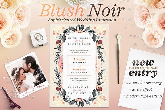 Blush Noir Wedding Invite II