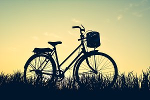 Silhouette of old bicycle