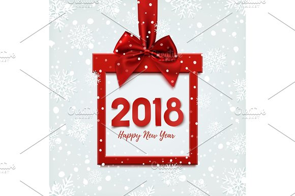 happy new year 2018 design square banner objects