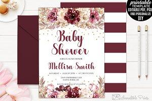 Marsala Baby Shower Invitation