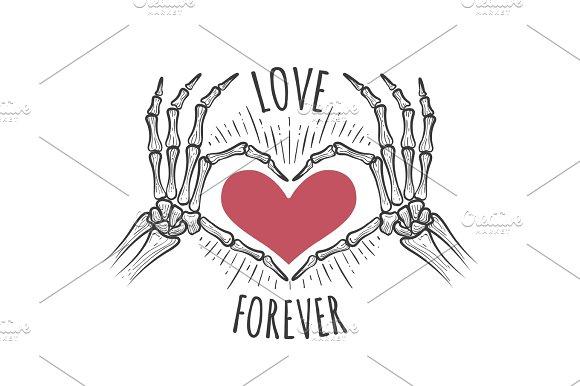 Skeleton Pink Heart Hands