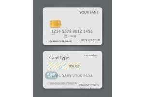Bank credit card white template