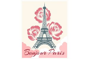 Bonjour or hello Paris retro poster