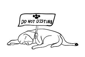 Sleeping dog holding do not disturb