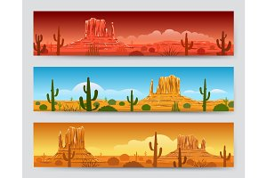 Wild nature desert mexican landscape banners