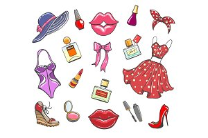 Girls fashion hand drawn elements