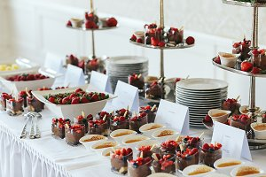 Chocolate desserts on the buffet