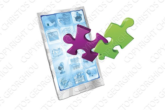Jigsaw Puzzle Pieces Flying Out Of Phone