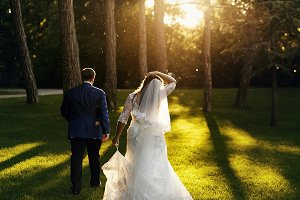 Newlyweds in the evening park