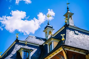 Close up of the Roof of baroque palace Pillnitz is located near Dresden on the River Elbe, Saxony, Germany