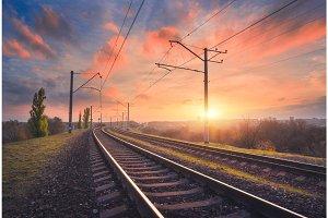 Railroad and beautiful sky at sunset