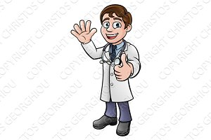 Doctor Giving Thumbs Up Cartoon Character