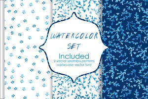 Watercolor seamless vector patterns