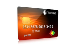 Debit or credit card isolated icon