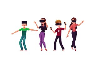 Boys and girls wearing virtual reality headsets, simulators, devices