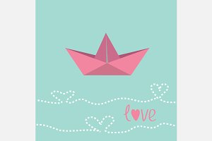 Origami paper boat. Flat design