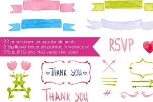 Big watercolor romantic elements set