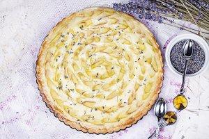 homemade tart with rhubarb
