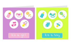 Baby boy and girl shower card set