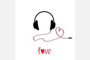 Black headphones Red cord