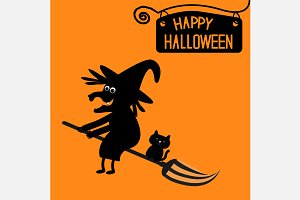 Happy Halloween  witch and cat