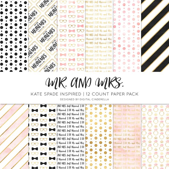 Mr And Mrs Digital Paper Pack