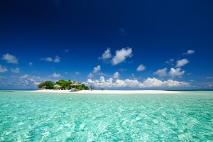 Tropical island resort seascape at sunny day