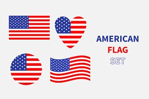 American flag icon set.