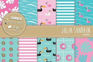 Summer Pool Party Seamless Pattern