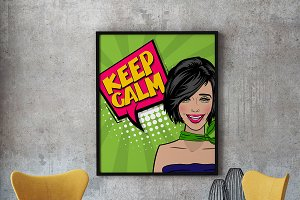 Pop art cartoon comic sexy woman say keep calm