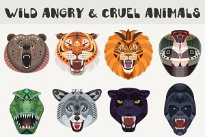 Angry vector animals heads set