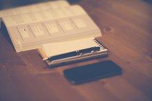 Office - book, notebook, phone