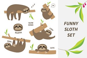 Funny sloth set with text