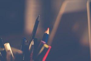 Pens, pencils, office