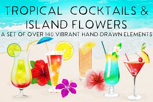 Tropical Cocktails & Flower Set