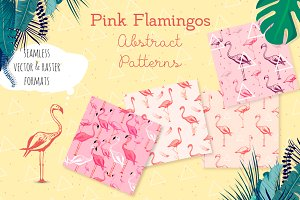 Flamingo seamless vector patterns