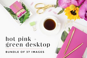 Hot Pink + Green Desktop Bundle