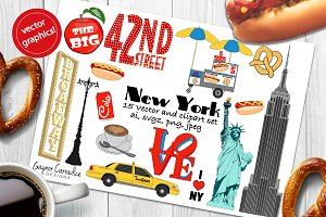 New York vector and clipart set