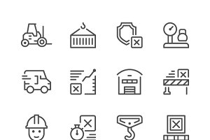 Set line icons of logistics