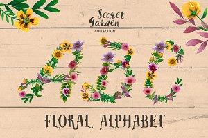 Floral Alphabet - Secret Garden