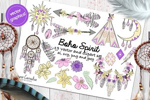 Boho vector & clipart set