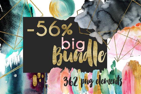 Watercolor Composition!Big bundle!